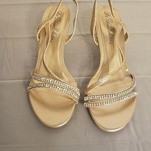 De Blossom Collection Berk-27 Nude Glitter heels
